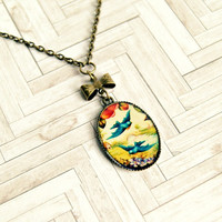 bluebirds of happiness brass pendant necklace, charm necklace, vintage look, romantic