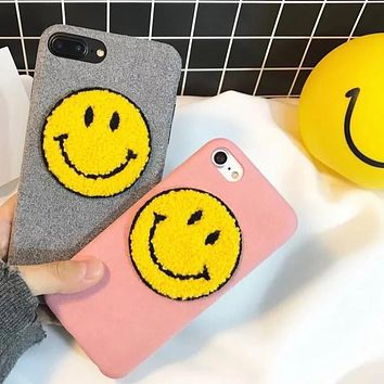 Plush Smiley Face Phone Case
