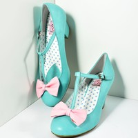Vintage Style Light Teal & Pink Leatherette T-Strap Bow Wiggle Heels