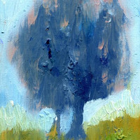 Blue Trees, Original Oil Painting on Canvas Board