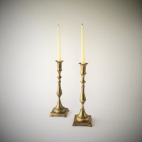 Pair Vintage Solid Brass Candlesticks, Tall Brass Candleholders, Mantlepiece Decor Candle Holders