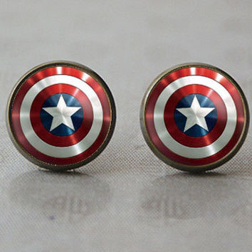 HandmadeCaptain America earrings Captain America post earring Captain America Shield Inspired Jewelry Stud earrings, Gift