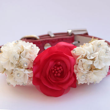 Red Floral Wedding dog Collar, Pet wedding accessory, Christmas gift