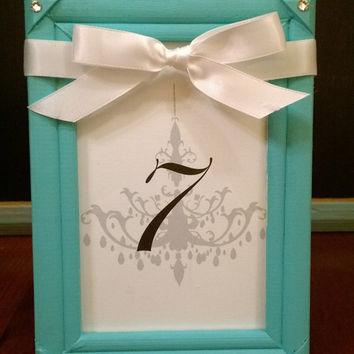 Tiffany and Co Inspired Table Numbers in Reusable Frame for Wedding Reception