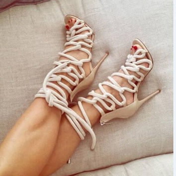 2016 Newest Designer Rope Braided Lace-up High Heel Sandal Sexy Open toe Cut-out Gladiator Strappy Sandal Woman Women Dress Shoe