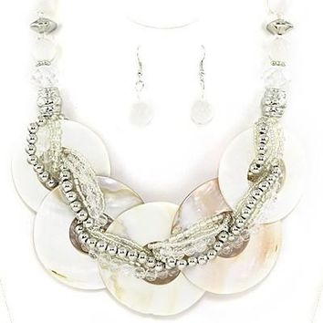 Captiva Shell Necklace Set in Natural Shell White