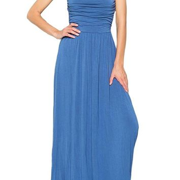 Strapless Maxi Dress with Ruched Bodice