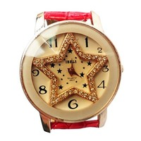 ZLYC Women's Rhinestone Studded Pentagram Star Face Watch