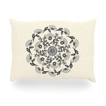 "Famenxt ""Black & White Decorative Mandala"" Geometric Oblong Pillow"