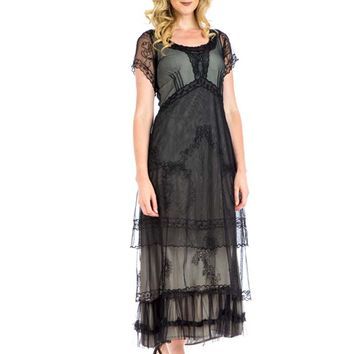 Embroidered Black Tulle Edwardian Style Tea Dress