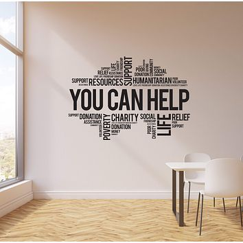 Vinyl Wall Decal Volunteer Words Cloud Church Charity Donation Interior Stickers Mural (ig5730)