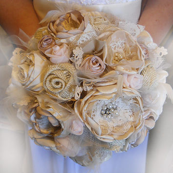 Vintage Style Fabric, Lace & Burlap Bridal Bouquet embellished with rhinestones, pearls, tulle and feathers. OOAK and Ready to Ship!