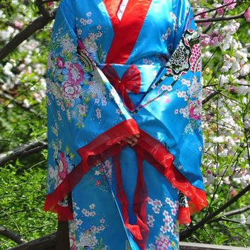 Hi-Q Retro Oriental Japanese Yukata Kimono Obi Cosplay Robe Geisha Dress Sleepwear Blue FREE shipping