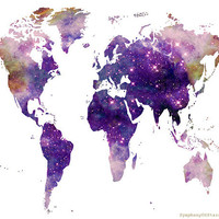 World Map Galaxy Universe Fine Art Print Poster
