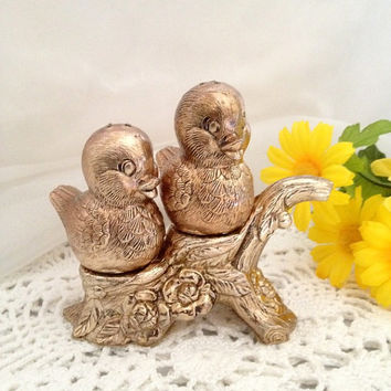 The Sweetest vintage Salt and Pepper Shakers - Cast Metal Pair of Birds sitting on a branch with Roses at its base - Shiny Gold Copper tones