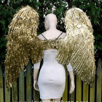 Extra Large Rhinestone Gold Angel Wings Cosplay Dance Costume Rave Bra Halloween Burlesque Show Girl