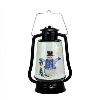 "13.5"" Black Lighted Musical Snowman Snowing Christmas Table Top Lantern"