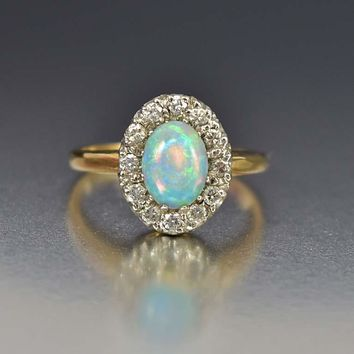 Estate 14K Gold Diamond Halo Opal Engagement Ring