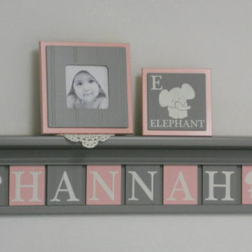 "Elephant Nursery Decor, Personalized Name Shelves Custom for HANNAH with Elephants - 30"" Grey Shelf with 8 Pink / Gray Wooden Letter Plaques"