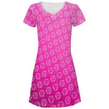 PEAPGQ9 D20 Gamer Critical Hit and Fumble Pink Pattern All Over Juniors Beach Cover-Up Dress