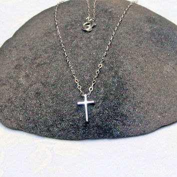 Tiny Cross Necklace, 925 Sterling Silver, Small Cross Pendant, Minimal Necklace, Dainty Thin Chain, Delicate Jewelry, Christian Necklace