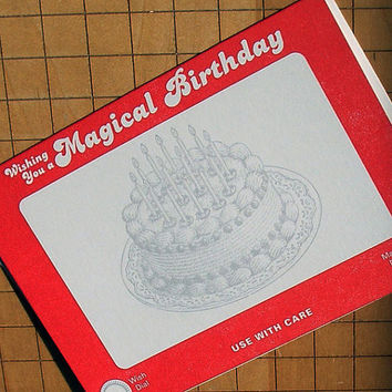 letterpress inspired by etch a sketch birthday greeting card