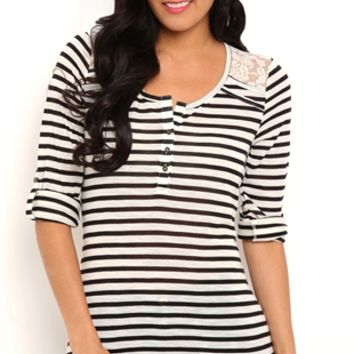 Striped Henley Top with Lace Shoulders