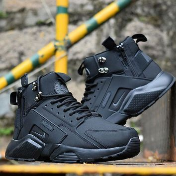Best Online Sale Nike Air Huarache X Acronym City Customise MID Leather Sport Shoes All Black