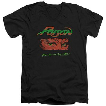 Poison Slim Fit V-Neck T-Shirt Open Up and Say Ahh Black Tee