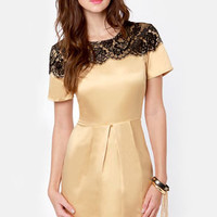 Nights in Gold Satin Dress