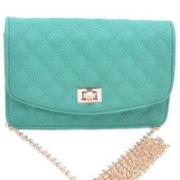 Cordial Invitation Quilted Chain Strap Cross Shoulder Purse in Turquoise | Sincerely Sweet Boutique