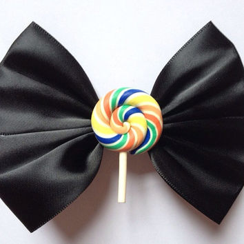 Black Lollipop Swirl Hair Bow Hairbow Rainbow Candy Funfair Sweets Lolly Fairy Kei Kawaii Goth Gothic