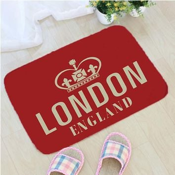 Autumn Fall welcome door mat doormat England Style London Printing  Flannel Home Decoration Non-slip Floor Mat London  vloermat Badmat Tapis de bain AT_76_7