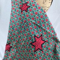 Made in Mali--African Wax Print Fabric--Ankara Fabric--Teal and Red Stars--African Fabric by the HALF YARD