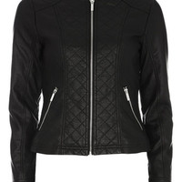Black Quilt Collarless Jacket