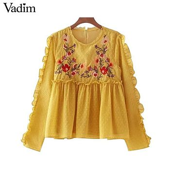 Vadim vintage ruffles floral embroidery pleated lace shirts long sleeve chic dots o neck blouse ladies casual tops blusas LT2172