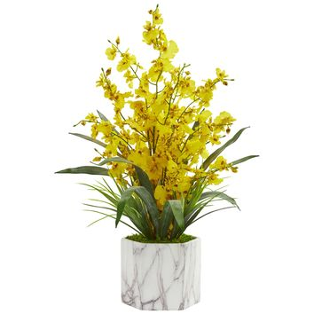 Artificial Flowers -Dancing Lady Orchid Yellow Arrangement-Marble Finished Vase