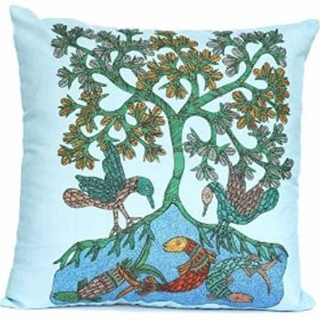 SouvNear Throw Pillow Covers 18 x 18 Inch Square Cushion Cover with Zipper for Sofa Bed Couch - Fish Tree & Bird Print