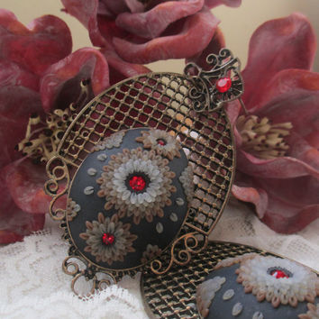 Rich and Luxurious Antiqued Earrings by Lena Handmade Jewelry