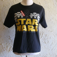 STAR WARS TINY DEATH STAR Black Childs T Shirt Large Darth Vader Storm Troopers