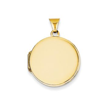 14k Yellow Gold 20mm Round Polished Domed Locket