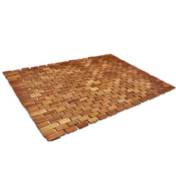 Folding Teak Wood Bath Shower Mat With Non Slip Feet, Easily Rolls Up