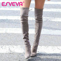 ESVEVA 2016 Western Style Winter Over The Knee Boots Square High Heel Women Boots Sexy Ladies Lace Up Fashion Boots Size 34-43