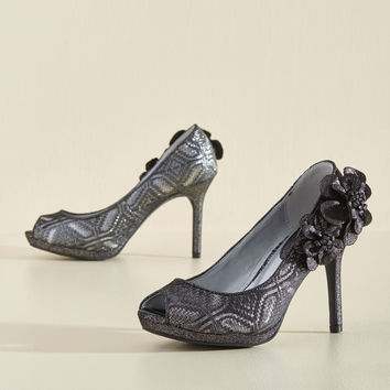 I'm Such a Fanfare of Yours Metallic Heel in Pewter | Mod Retro Vintage Heels | ModCloth.com