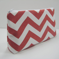 Chevron Pouch, Red Chevron Accessory Pouch, Cosmetic Pouch, Pencil Case