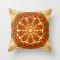 Apricot and gold Iris flower mandala Throw Pillow by RVJ Designs