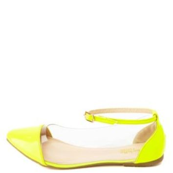 Neon Pointy-Toe Lucite Ankle Strap Flats - Neon Yellow
