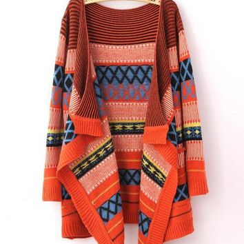 Folk Style Jacquard Irregular Sweaters Orange$45.00