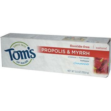 Tom's Of Maine Cinnamon Fluoride Free with Propolis & Myrrh Toothpaste (6x5.5 Oz)