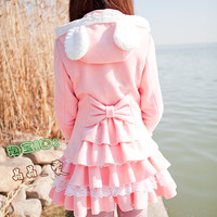 Happy rabbit ears hooded dress knitted cashmere winter coat Lolita lolita sweet flounced blouse D8 from taobao agent:Shopitchina.com
